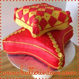Red and Gold Pillow Cake